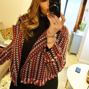 SHEIN Red, Black, White Woven Blazer- Size Large